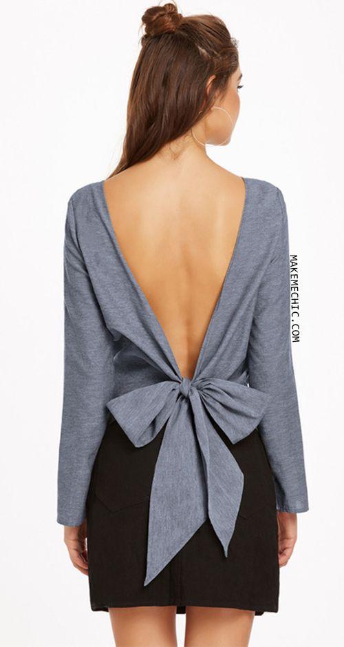 Grey Bow Tie V Back Long Sleeve Top