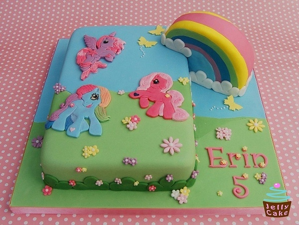 My Little Pony birthday cake girl rainbow pink blue yellow party birthday kids