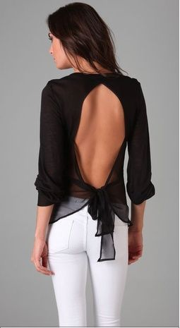 chiffron bow tie back top, #shirts, #black: Bows Ties, Style, White Pants, Black White, Backless Tops, Open Backs, White Jeans, Open Back, Backless Shirts