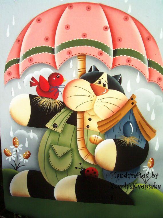 Handpainted Spring Kitty  Banner via Etsy
