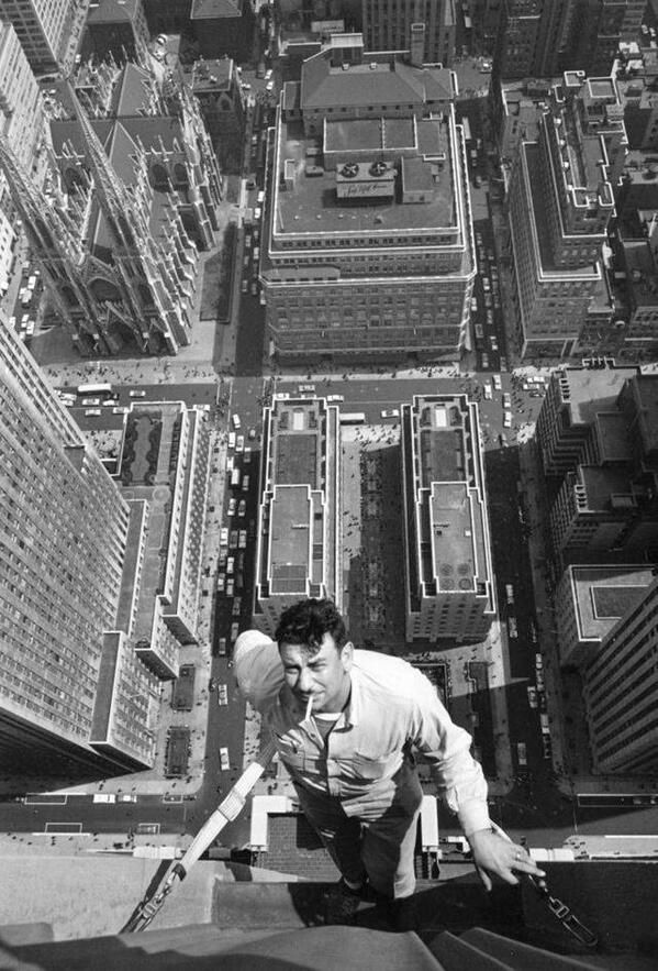 Window washer in New York, 1950's.