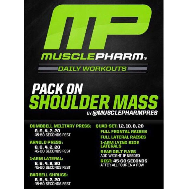 #MP Workout of the Day! Pack on Shoulder Mass by @MusclePharmPres  Powered by #Assault!  Tag someone that wants massive shoulders!