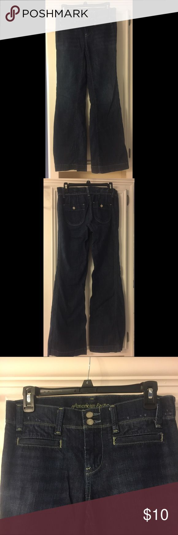 American Eagle High Waisted Trouser Jeans Pre Owned American Eagle High Waisted Trouser Jeans. These are size 4 regular. American Eagle Outfitters Jeans Flare & Wide Leg