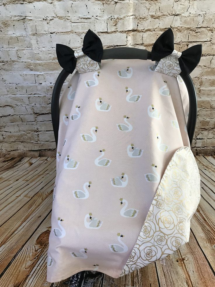 Baby Girl Swan Infant Car Seat Canopy Set, Powder Pink, Car Seat Cover, Car Seat Tent, Floral, Infant Carrier Canopy, Gold, Roses, Princess by SugarPeasCreations on Etsy https://www.etsy.com/listing/522170707/baby-girl-swan-infant-car-seat-canopy