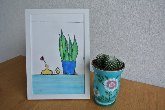 Monotype 'Vaasje en plant'- Stilleven in huis, enkele afdruk, inclusief lijst