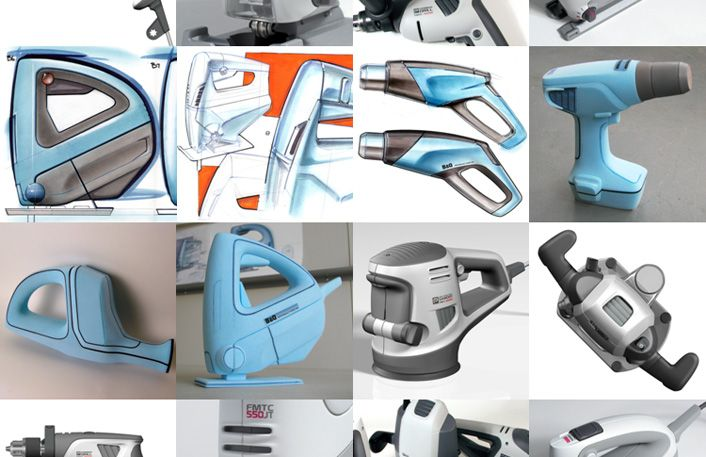 hyphen design - power tools sketches and foam models for b