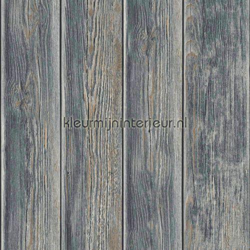 Gebeitste planken behang J86819, Kaleidoscope van Dutch Wallcoverings
