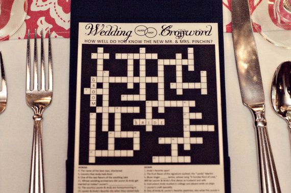 Personalized Wedding Crossword Puzzle. Use as a Reception Game, Favor, Save the Date, Rehearsal Dinner, Menu, Wedding Ceremony Program.