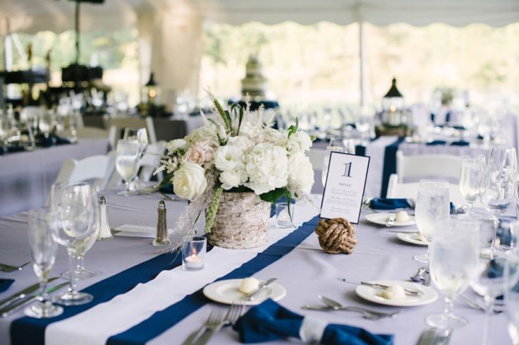 Elegant Nautical Wedding- love the table number holders and the centerpiece variety {bouquet and lantern every other table}