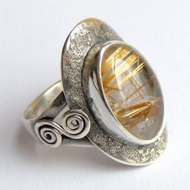 Sterling silver ring,sagenit,golden hair rutilated quartz by Majlagalery on Etsy