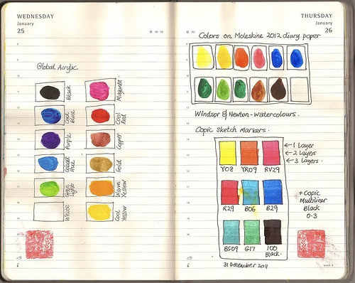 color chart on moleskine