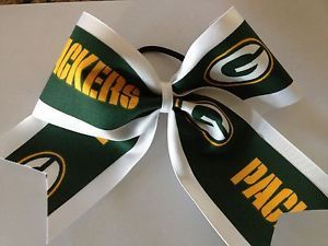 "NFL Green Bay Packers 3"" Wide White Ribbon Large Cheer Hair Bows ..."