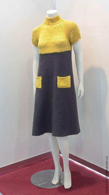 Купить Валяное платье College - авторская ручная работа, валяная одежда, вязание спицами, серый