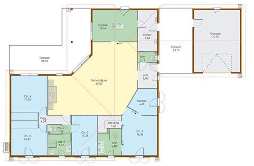Plan maison contemporaine plain pied 4 chambres 1 for Plan maison tunisie