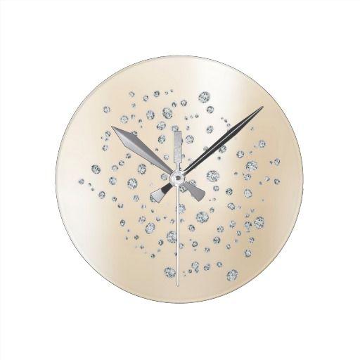 Pearly Ivory Creamy Diamond Swarovski Crystal Wall Clocks