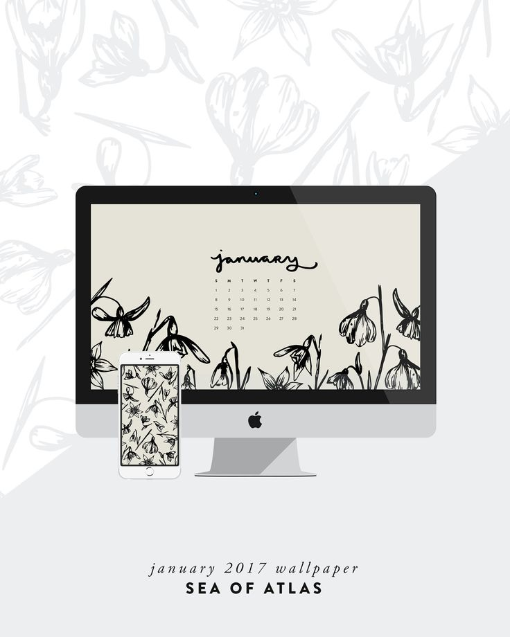 Desktop Wallpaper: January 2017 Calendar | Sea of Atlas