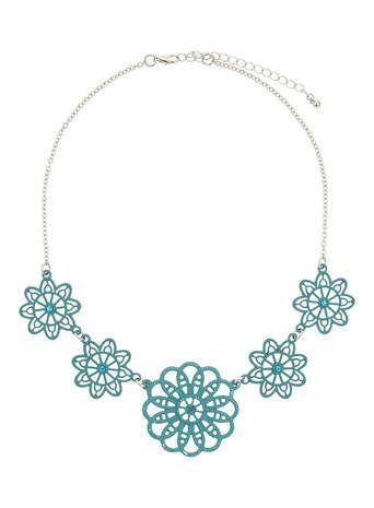 Blue Flower Wire Necklace
