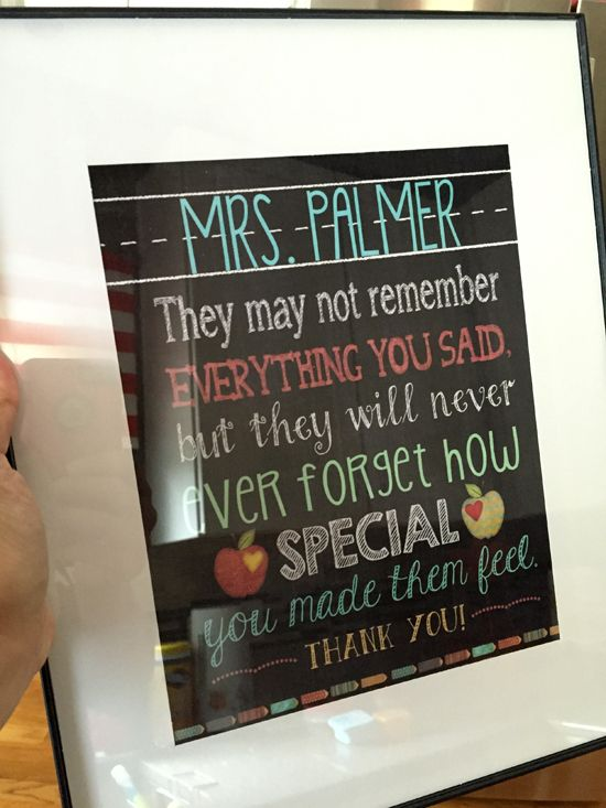 It's All About Ty and Ashlee: End of Year elementary school/preschool teacher gift: printable/saying with frame from WalMart