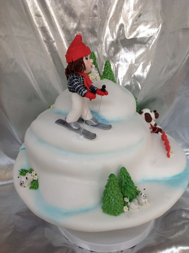 Downhill Skiing Birthday Cake