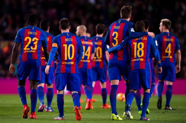 FC Barcelona players celebrate after Lionel Messi scored their team's fifth goal during the La Liga match between FC Barcelona and RC Celta de Vigo at Camp Nou stadium on March 4, 2017 in Barcelona, Catalonia.