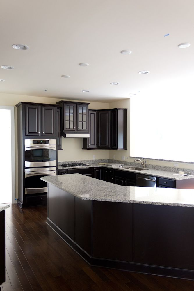 Luna Pearl And Espresso Cabinets With Dark Hardwood Home