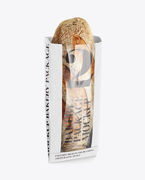 White Paper Bread Bag w/ Window Mock-Up. Preview