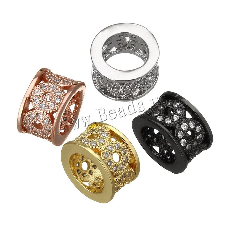 Cubic Zirconia Micro Pave Brass European Bead, Column, plated, micro pave cubic zirconia & without troll, more colors for choice, nickel, lead & cadmium free