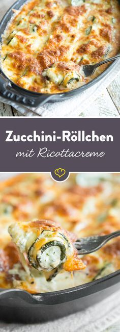 Die kleinen Röllchen aus Zucchini werden mit einer würzigen Creme aus Ricotta bestrichen, zusammengerollt und mit Mozzarella überbacken. Wir lieben es!