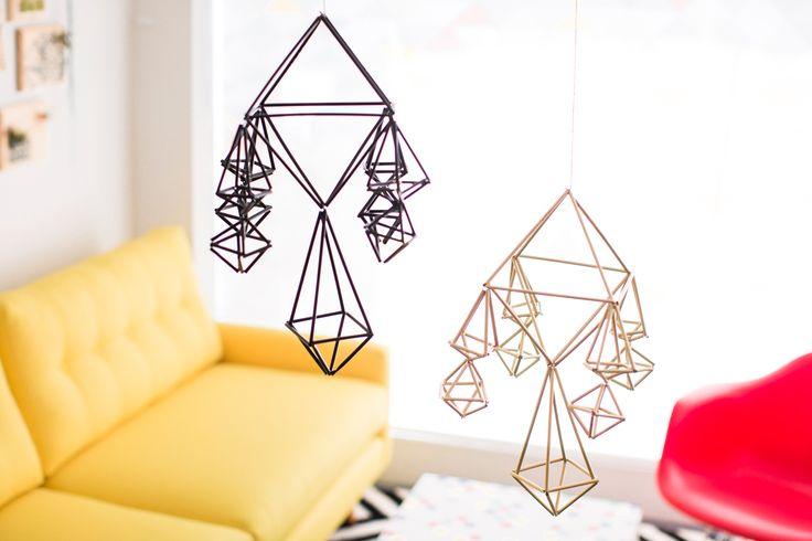 How to Repurpose Straws to Make Modern Geometric Mobiles via Brit + Co