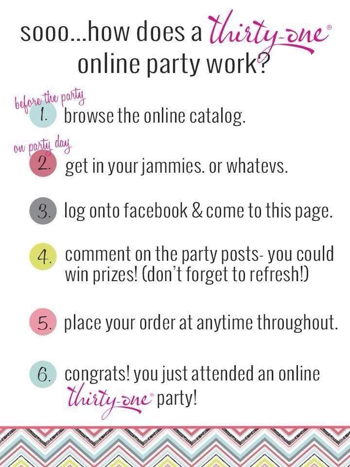 Thirty one www.mythirtyone.com/RachelLynnB Contact me if you are interested in hosting an online party!