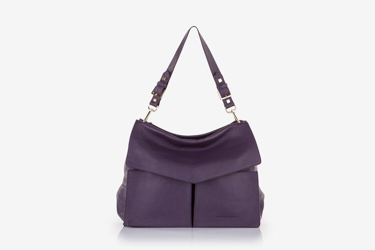 Minerva in purple pebbled calf leather - Front view.