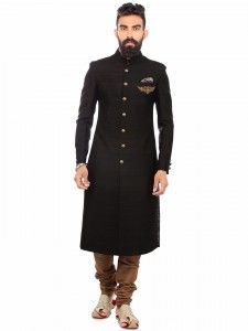 Shop Black classy terry rayon sherwani online from G3fashion India. Brand - G3, Product code - G3-MSH0539, Price - 14195, Color - Black, Fabric - Terry Rayon,