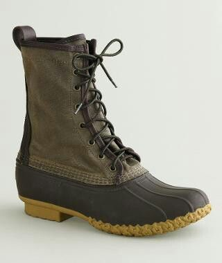 L L Bean Waxed Canvas Boots Olive Green Brown