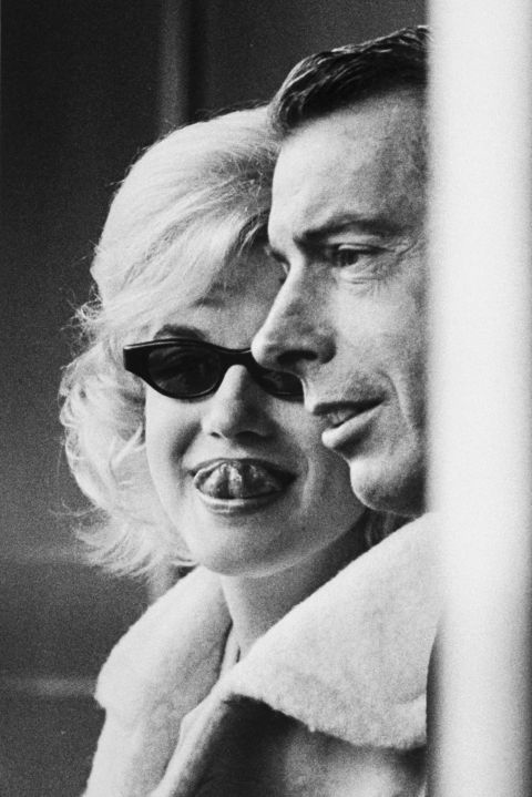 With then husband Joe DiMaggio at a Yankees game on April 11, 1961.