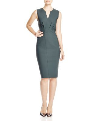 Elie Tahari Vernon Pleated Scuba Sheath | Bloomingdale's