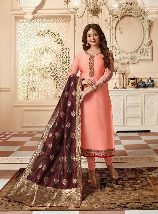 c5d7ce3296 Lavina Vol-55 Satin Georgette Banarasi Dupatta Suit (6 Pc Set ...