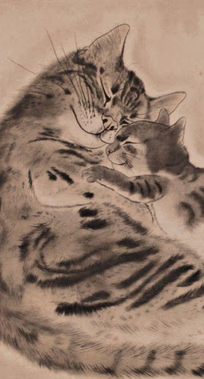 """Léonard Tsuguharu Foujita (1886 -1968) - """"Cat with kitten"""" (detail), 1929"""