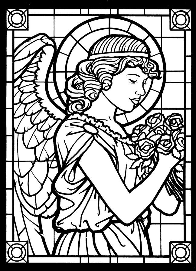 Amazing Angels Stained Glass Coloring Book Angel Coloring Pages Color Drawing Art Coloring Pages