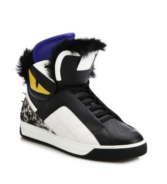 Fendi Monster Fur-Trimmed Leather High-Top Sneakers Black       $149.00