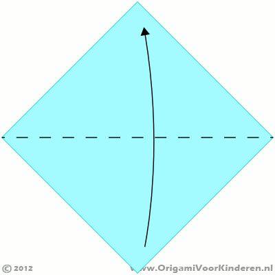 Origami instructies stap 1