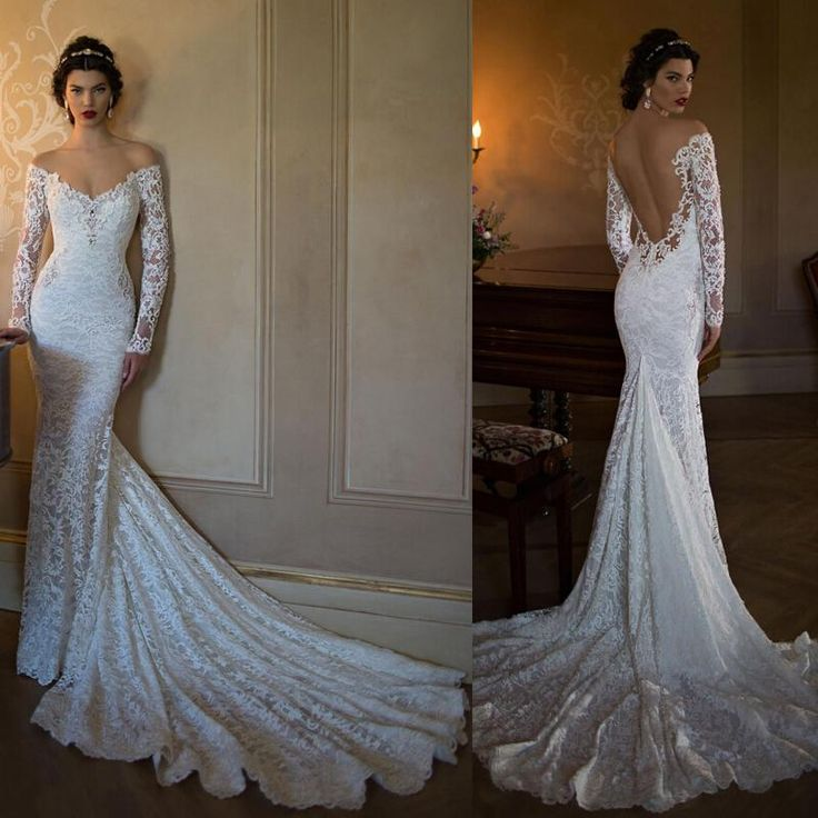2015 Berta Bridal Lace Wedding Dresses Vintage Off the Shoulder Illusion Long Sleeve Mermaid Wedding Gowns Low Back Bridal Gowns Cheap