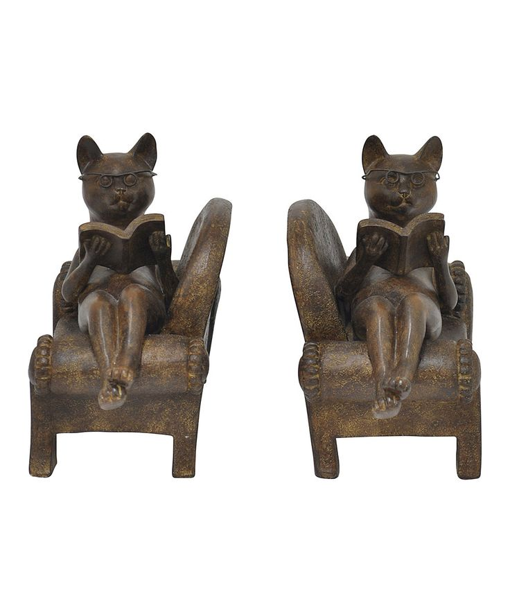 Cat Reading Bookends