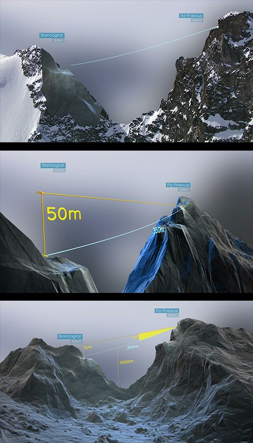 Transition from real footage to a 3D scene. Showing the distance of a high wire between the peaks of two mountains.