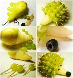 Comment faire un hérisson à partir d'une poire et des grains de raisins…