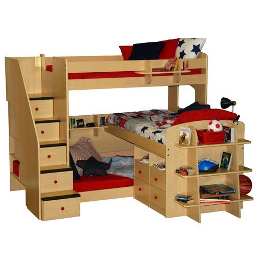 Awesome triple bunk.....we need this for the boys' room!!!!!