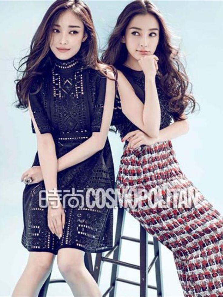 (L) Ni Ni in Valentino Fall 2015, (R) Angelababy in Balenciaga by Chen Man for Cosmopolitan China September 2015