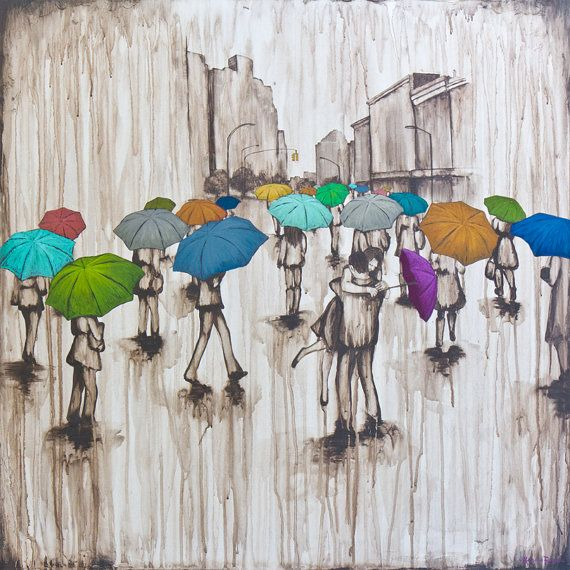 Fine Art Rain Print, titled Finding Love, by Kendra Baird Runnels, dance in the rain art