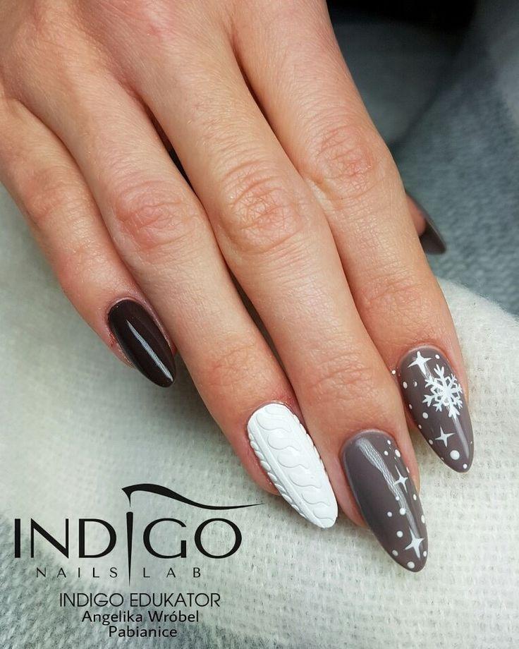 Winter nails by Angelika Wróbel Indigo Educator #nails #nail #indigo #indigonails #winter #winternails