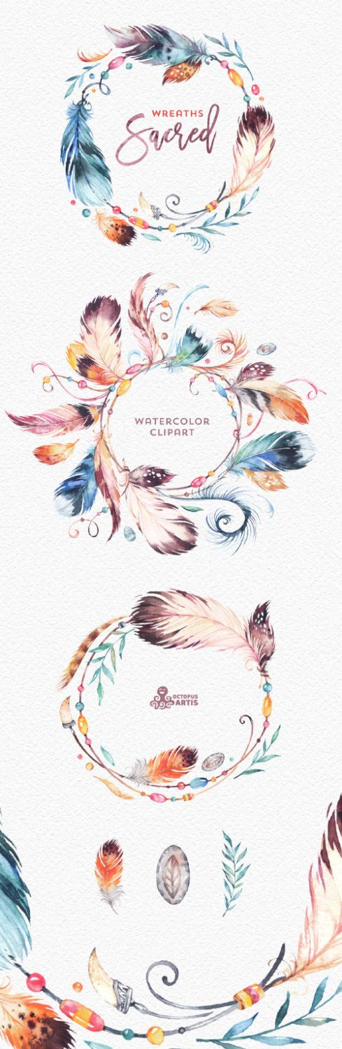 Sacred Wreaths. Watercolor Clipart. Native tribal by OctopusArtis