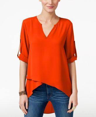 LIKE v neck, length longer in back.  1/2 sleeve.   Karen Kane Asymmetrical Tiered-Hem Top